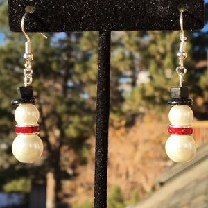 White and Red Glass Pearl Snowman Earrings